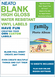 "Blank Full Sheet Labels - High Gloss, Vinyl, Water Resistant, 8.5"" X 11 - 10 Sheets"