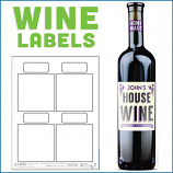 Blank Wine Labels - High Gloss - Water Resistant - 40 Labels