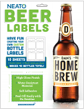 Blank Beer Labels - White, High Gloss - Water Resistant - White - For Inkjet Printers - 40 Labels - 10 Sheets